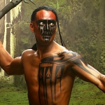 Mark plays Red Indian Mani -practicing with axe on set - Brotherhood of The Wolf