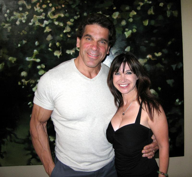 Two very different warriors share a smile...Cynthia with The Hulking Lou Ferrigno