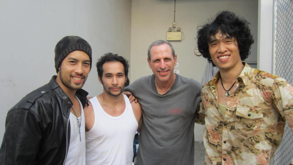 Isaac with some of the stunt guys
