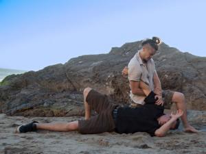 Locking it up on the beach