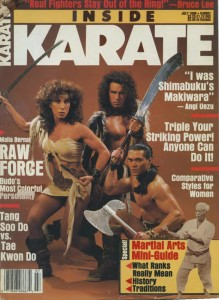 Malia with sons Mark and Craig on cover of Inside Karate magazine