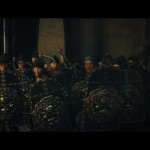 At the blacksmiths, Guan Yu is confronted by dozens of soldiers