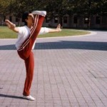 Donnie Yen performs a front leg raise