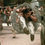 Barbed-wire leap through in Ong Bak!