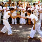 Capoeira training often takes place in a roda (circle)