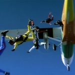 James Bond stunt team perform the skydiving