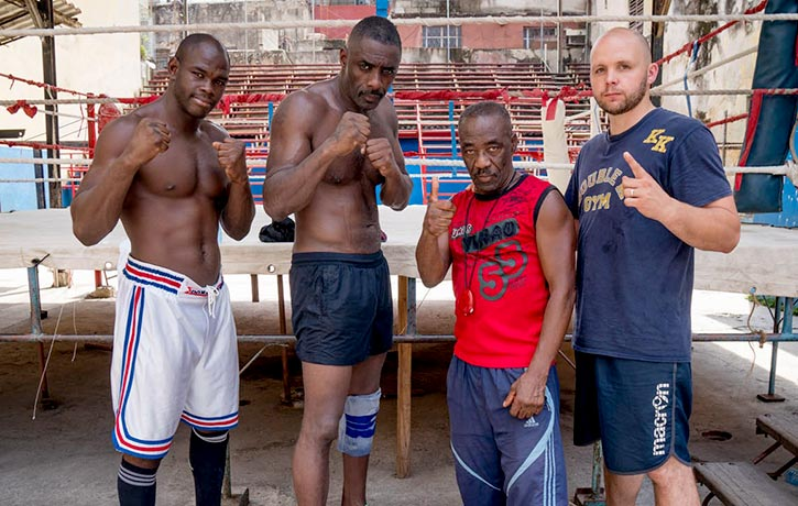 Idris in Cuba with his training team Emilio Correa, Nardo Flores and Kieran Keddle