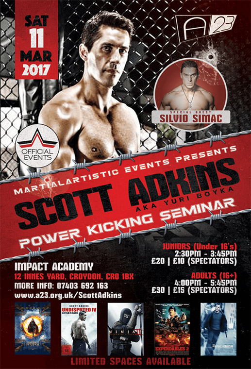 Scott Adkins Power-Kicking Seminar in London, March 11th