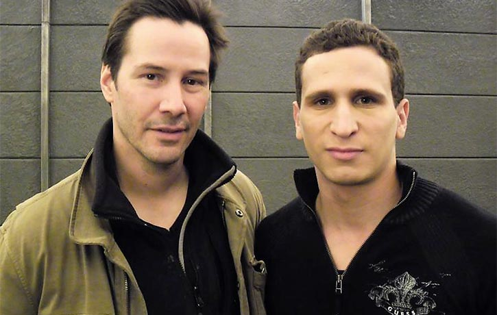 Brahim with Keanu Reeves on the set of Man of Tai Chi