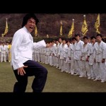Bruce Lee Lee unleashes an intense high energy side kick..
