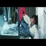 Actress Brigitte Lin performed her own stunt when put through a glass window..