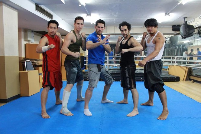 Tim Man with Ninja II stunt team and Scott Adkins