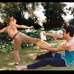 A young Brandon fine tuning his side thrust kick on father Bruce