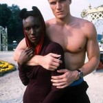 Dolph with Grace Jones on the set of A View to a Kill
