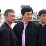 Jackie Chan with director Antony Szeto left and cast at the premiere