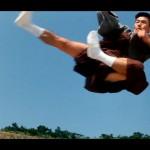 Fumio soaring through the air in his socks
