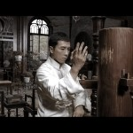 Ip Man trains on the mukjong wooden dummy