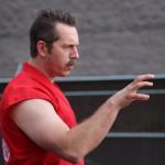 Master Ken demonstrates a right hand strike