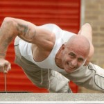 Mick Gooch performing his famed one-finger push-ups on a nail! Amazing!