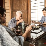 Master Gotetsu young Gouken and Sayaka at dinner