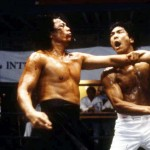 Preparing for a nasty backfist to the ribs in Dragon The Bruce Lee Story