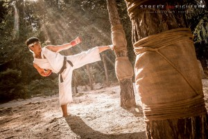 Ryu training midst the light rays