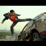 A perfect jump spinning back kick