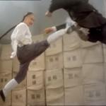 An impressive jumping front kick
