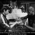 Marrese with Tony Jaa participate in Thai water ceremony
