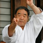 Karate legend Fumio Demura ready with Shuriken