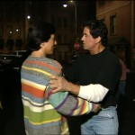 Stallone shares a warm moment with his friend