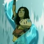 Katara Waterbends Aang to safety