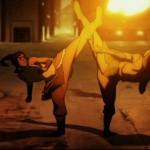 Korra battles chi blockers with her Firebending