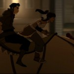 Naga guides Korra and Mako through Republic City