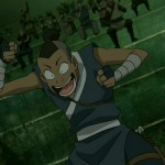 Sokka cheers Toph at the Earthbending tournament
