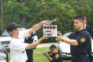 On set of movie Watch Us Die