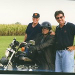 Producer Phil Fehrle pro stunt rider Mike Jones and Keith together for Thomas and the Magic Railroad