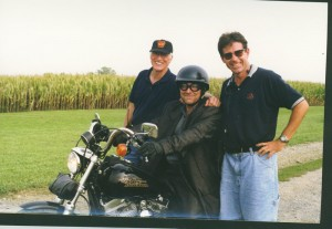 Producer Phil Fehrle, pro stunt rider Mike Jones and Keith together for Thomas and the Magic Railroad