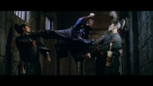 Flying split kick from undercover Captian Jin