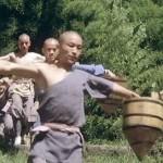 The monks training hard