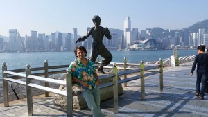 Paying a visit to Bruce Lee's statue in Hong Kong