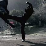 Liu Kang deflects Johnny Cages tornado kick