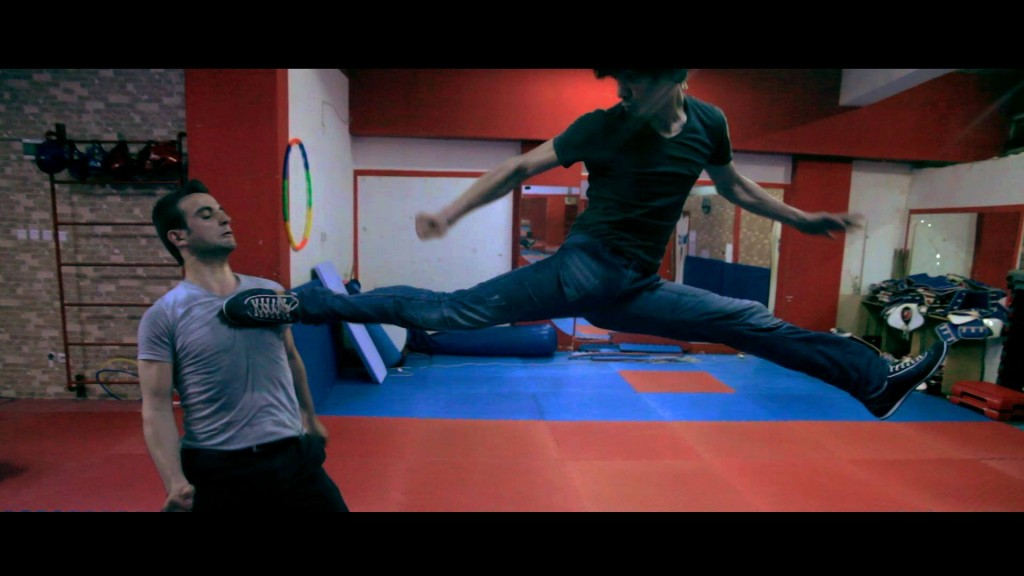 Nice back jump spinning kick