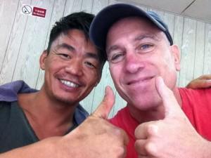 John with Wang Bao-qiang on the set of Kung Fu Killer