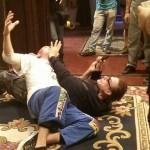 John and Jean Claude Van Damme work through the choreography of Pound of Flesh