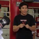 Glen takes Robbie through basic punching drills