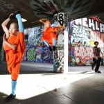Shaolin Monks impressive moves in Southbank Skatepark as featured in Shaolin DVD
