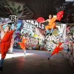 Shaolin Monks rehearse their Kung Fu moves in Southbank Skatepark as featured in Shaolin DVD