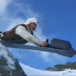 Close ups reveal Jackie actually did his own snowboard stunts