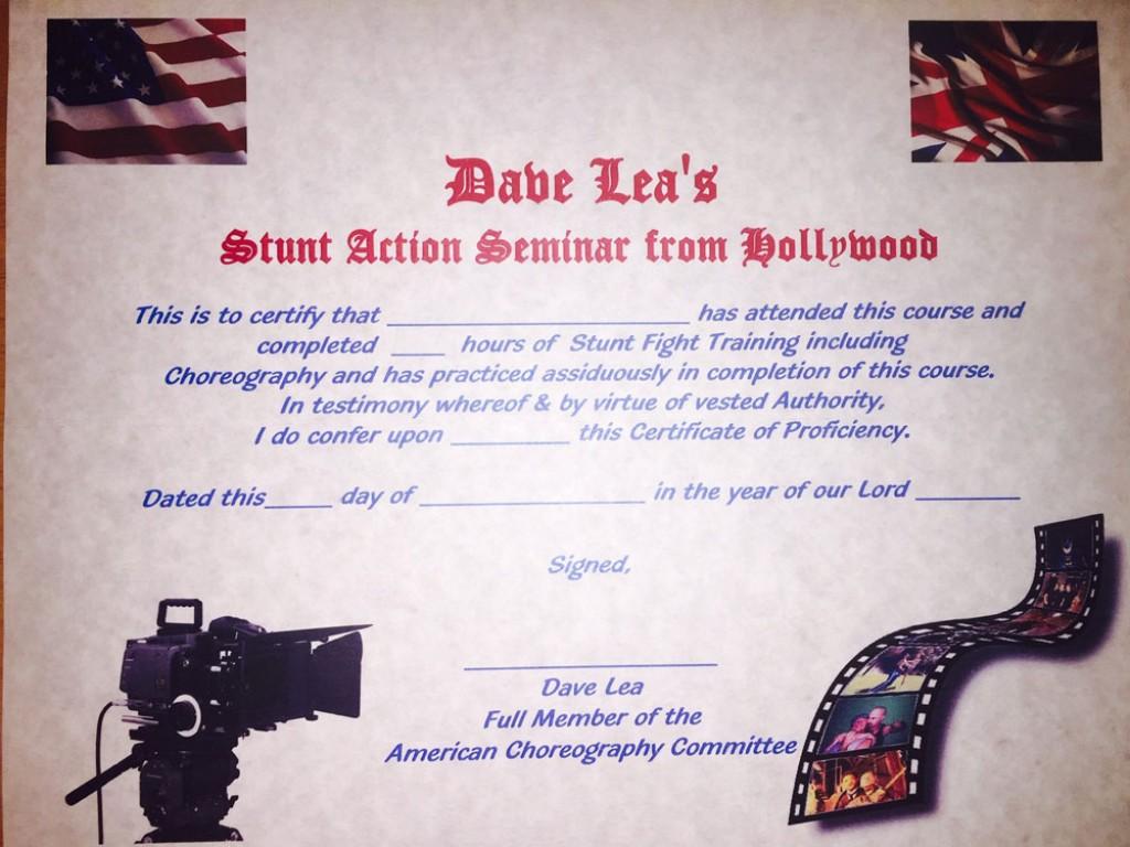 Dave Lea Certificate
